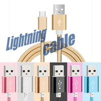 Wholesale Data Sync Cable Power - Mobile Phone Universal Lightning Cable Micro USB Type-C Cable Braided Fast Charge line Data Sync Power Cable for 50CM 100CM 200CM