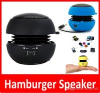 Wholesale Hamburger Speaker Wholesale - Portable Pocket Speaker Mini Hamburger Speakers MP3 Audio Amplifier Wholesale High Quality Speakers Subwoofers 8 Colors Free DHL