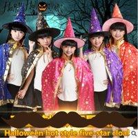 Wholesale Wholesale Seven Hats - Wholesale Halloween supplies children's dressing dancers Seven colors cloak cloak cosplay witch hat clothing props