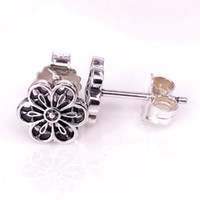 Wholesale Cubic Zirconia Clip Earrings - Jewelry Accessories Wholesale Authentic S925 Silver Floral Daisy Lace Stud Earrings Fits European Pandora Style Jewelry