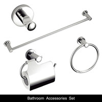 Wholesale Towel Rings Solid Brass - Bathroom Accessories Set solid brass+zinc chrome finish sliver  hook,Paper Holder,Single Towel Bar 60cm,Towel ring 4 pcs set--2600 4.