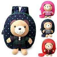Wholesale plush bear backpack - Plush animal backpacks for baby safety Anti-lost backpack cartoon Bear bag for 1-3T kids C3145