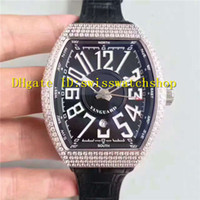 Wholesale Eta Men Watch - Top Quality Luxury Brand Diamond Bezel Big Arabic numerals Black Dial ETA 2824 Automatic Men's Watch Black Leather Strap Man Wristwatches
