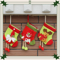 Wholesale luminous patch - 2016 new gift bag Christmas stockings Patch socks Christmas tree ornaments pendant Christmas decoration gift 30pcs lot