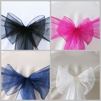 Wholesale Organza Sash Cover Chairs - 2016 top sale cheap wedding organza chair cover sash bow chair sash knot 50 pieces per lot