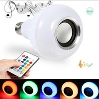 Wholesale Music Leds - Bluetooth Speaker LED Bulb Light 12W Dimmable RGBW Wireless Music Playing Leds Lamp with 24 Keys Remote Control
