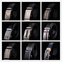 Wholesale Fashion Design Mens Belt Buckle - HOT SALE!!77 designs Fashion belt MENS Genuine Leather belts Waist Strap Belts Automatic Buckle Black leisure business leather belts LA203-1
