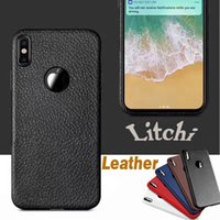 Litchi Leather Pattern Soft TPU Case Ultra-thin Slim Shockproof Anit-fingerprint Tampa de proteção para iPhone X 8 7 Plus 6S Samsung S8 Nota 8