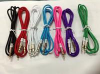 teléfonos de cable púrpura al por mayor-Púrpura de 3.5 mm Jack a Jack Car Aux Auxiliary Cable Cable de audio estéreo para el cable de audio del teléfono Cable de audio para el conector de coche de PC
