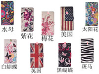 Wholesale Zebra Iphone Wallet Wholesale - Flower Butterfly Flip Wallet Leather Pouch Case For Samsung Galaxy S7 S5 S6 Edge NOTE5 Iphone 6 6S Plus UK USA Flag Zebra Stand Cards Cover