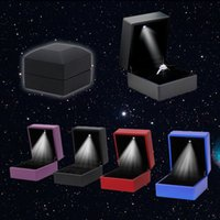 Wholesale Ring Box Gift Leather - Deluxe LED Light Square Rubber Painted Fine Jewelry Box Ring Box Gift Box Jewelry Wedding Engagement Ring Jewelry