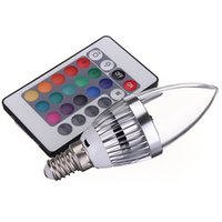 Wholesale E27 Candle Light Led Color - Big Promotion E14 3W RGB LED 16 Color Changing Light Candle Bulb Spotlight Lamp 85-265V with Remote Control