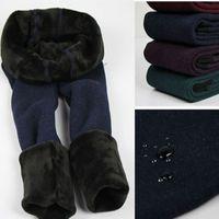 Wholesale Girls Leggings Flowers - New Fashion Warm Winter Girls Leggings Velvet Flower Print Pants Children Kids Thick Pants 2-12Years Old Girl Trousers