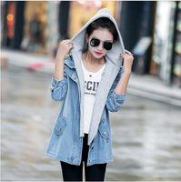 Wholesale Long Hooded Down Vests - Casual Autumn Korean Large Size Turn-down Collar Hooded Women Denim Jacket Windbreaker vest Coat Two-Set clothing