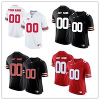 Mens Ohio State Buckeyes Collège personnalisé Football Limited maillots # 9 # 16 Lights Out noir rouge blanc cousu personnalisé maillots S-3XL