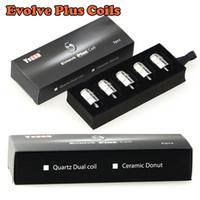 Wholesale E Cigarette Packing - Authentic Ceramic Donut Coils Quartz Dual Coils QDC For Yocan Evolve Plus Kit 5pcs pack E Cigarette Replacement Coils Fast Shipping