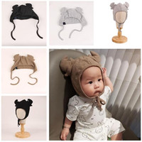 Wholesale Hundreds Clothing Wholesale - Newborn Hat Cotton Baby Antlers Caps Photography Hundred Days Baby Photo Modeling Clothes Handmade Hat Studio Props DHL Free Shipping