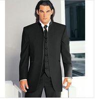 Wholesale Men Dress Suits Cheap - 2016 Custom Cheap Black New Groom Tuxedos Mandarin Collar Groomsmen Dress Men Wedding Suits