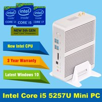 Wholesale Intel I5 Graphics - Wholesale-Fanless Barebone i5 Mini PC Windows 10 Broadwell Intel Core i5 5257U 4K HTPC Graphics Iris 6100 Optical+2*Nics+2*HDMI+300M Wifi