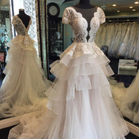 Wholesale Gorgeous Short Skirts - 2018 Gorgeous Appliques Lace Wedding Dresses Sheer Neck Short Sleeves Illusion Bodice Tiered Skirt Tulle Backless Wedding Gowns