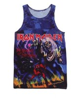 Wholesale Iron Man Underwear - New Fashion Women Men Vest Couples Tank Tops Underwear Iron Maiden Number Of The Beast 1981 3D Print Crop Sleeveless Garment Stretchy #V103