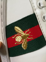 Wholesale Embroidered Buckles - New G white BEE shoes Luxury Brand Casual Shoes Ace Sneaker with Removable Patches Embroidered HEART Fashion shoes Eur34-44