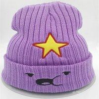 Wholesale Beanie Women - 2016 new Winter Women Hat Warm Knitted beanies Five-pointed star Beanie fashion Hat Cap for women purple bonnet