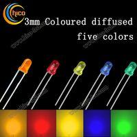 3mm levou azul difuso venda por atacado-Diodo led de iluminação 3mm Difusa Luz led chip Emitting Diodos LED Contas Cabeça Redonda Vermelho Verde Azul Amarelo Laranja