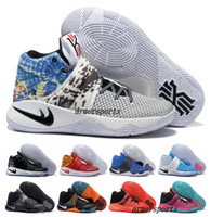 Wholesale Eva Balls - New 2017 Kyrie Irving Shoes Mens Basketball Shoes Kyrie 2 II Bright Crimson Tie Dye BHM Basket Ball Olympic Men Shoes Sneakers For Cheap