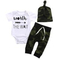 trajes de otoño infantil al por mayor-Conjunto de ropa para bebés recién nacidos Romper + Camuflaje Herm Pants + Hats Toddler Outfit Boutique Infantil Ropa Niños Otoño Traje Pijamas para niños