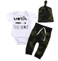 Wholesale Hat Costume Romper - Newborn Baby Boys Clothing Set Romper+Camouflage Herm Pants+Hats Toddler Outfit Infant Boutique Clothes Kids Fall Costume Children Pajamas