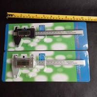 Wholesale digital electronic caliper - 150mm 6inch LCD Digital Electronic Carbon Fiber Vernier Caliper Gauge Micrometer Plastic Caliper Retail Box Black silver color 10pcs lot