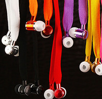 Wholesale Shoelace Earphones - Shoelace Style Earphones 3.5mm In Ear Earbuds Stereo Super Bass Metal Headset Handfree With Mic