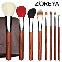 Wholesale Brush Zoreya - Zoreya Brand High Grade Annatto Handle 20pcs Makeup Brushes Professional Animal Hair Cosmetics Cooper Ferrule Make Up Brush Set