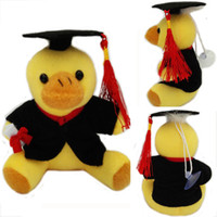Wholesale graduation books - Stuffed Animals Graduation Duck 13cm Em Plush Pato Toy With Hat and Book Formatura Doctor Duck Soft Dolls