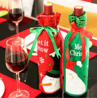 Wholesale drop shipping wine resale online - Christmas Santa Claus Red Wine Bottle Cover Bags Champagne Wine Bottle Sets Xmas dinner supply drop ship sale HJIA880