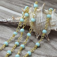 Wholesale Wholesale Chalcedony Bead - Wholesale Aqua Blue Chalcedony Rosary Style Beaded Chain-4x3mm Faceted Rondelles Aqua Blue Beads wire wrapped Gold Chain Beaded C4634