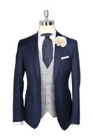 Wholesale Tie Color For Grey Suit - 2016 Custom Made Navy Blue Tuxedos Wool British style Mens suit slim fit Blazer wedding suits for men suit(Jacket+Pants+Tie)