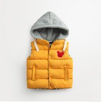 Wholesale Children Padded Vest - Kids Boys Hooded Vest Waistcoat Thicken Cotton Padded Warm Vests Children Outwear Winter Coat Waistcoat Children Clothes Kids Clothing
