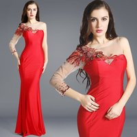 Wholesale Single Sleeve Illusion Prom - Sexy Formal Prom Dresses Red Lycra Tulle Beading Flower Single Long Sleeve Evening Dress Perspective Back Gown Party Dresses (AXX-019)