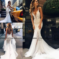 Wholesale Tulle Couture - 2017 Pallas Couture Amazing Detail Sexy Outdoor Mermaid Wedding Dresses 3D Floral Lace Spaghetti Backless Country Wedding Gowns