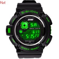 Wholesale Mens Waterproof Swimming Watches - New Mens Multi Function Sports Wrist Watch Dive Swim 50M Waterproof LED Digital Alarm Cambing Outdoor Sports Military Watch Colors SV003942