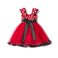 Wholesale Toddler Girls Fluffy Skirts - Toddler Girl Baby Flower Princess Pageant dot printing TuTu Fluffy Pettiskirt Wedding Party Formal Birthday Skirt Party Gown Dance wear Red