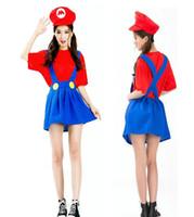 Wholesale Super Mario Overalls - Women girls Super Mario Luigi Plumber Bros Costume Halloween super Mario game animation Mario overall modelling cosplay uniform for women