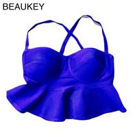 Wholesale Peplum Top Xs - Wholesale-Blue Peplum Padded Bra 2015 Newest Knitted Camis Rayon HL Peplum Bandage Crop Top