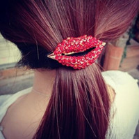 Wholesale Blue Pony Tail - Hot Sales Fashion Korean Cute Girls Hair Clip Full Red Rhinestone Lip Hair Bands Hair Accessories Hair Rope for women DHF422