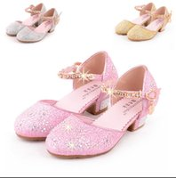 Wholesale Girls Beaded Sandals - Girls Heel Shoes Spring Bowtie Sandals 2016 New Children Shoes High Heels Princess Bow Sweet Sandals Beaded Shoes For Girls