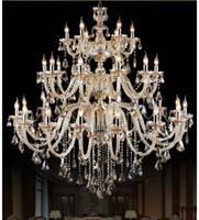 araña de capa al por mayor-Morden 3 capas 28 brazos Cognac grande Araña de cristal Escalera Larga araña de cristal Iluminación Restaurante Hotel Hall Lámparas de la villa