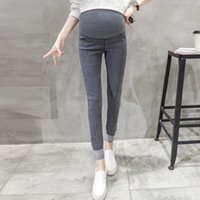 Wholesale Trouser Jeans For Pregnant Women - Rolled Up Cuffs Stretch Denim Look Maternity Pants Elastic Waist Belly Pencil Trousers Clothes for Pregnant Women Pregnancy
