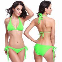Wholesale Micro Bikini Sexy Swimsuits - Summer Cheap Swimsuits Victorias Style Micro Bikini Long Halters Removable Padding Fully Lined 2016 Sexy Women String Bikini Girls 11 Colors